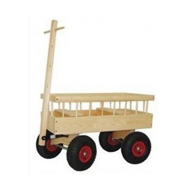 Trækvogn i skandinavisk ubehandlet fyrretræ - Super solid trækvogn med lufthjul til 2 børn