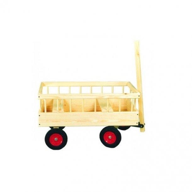 Trækvogn i skandinavisk træ - Rigtig solid trækvogn til 2 børn og med faste hjul, der ikke punkterer